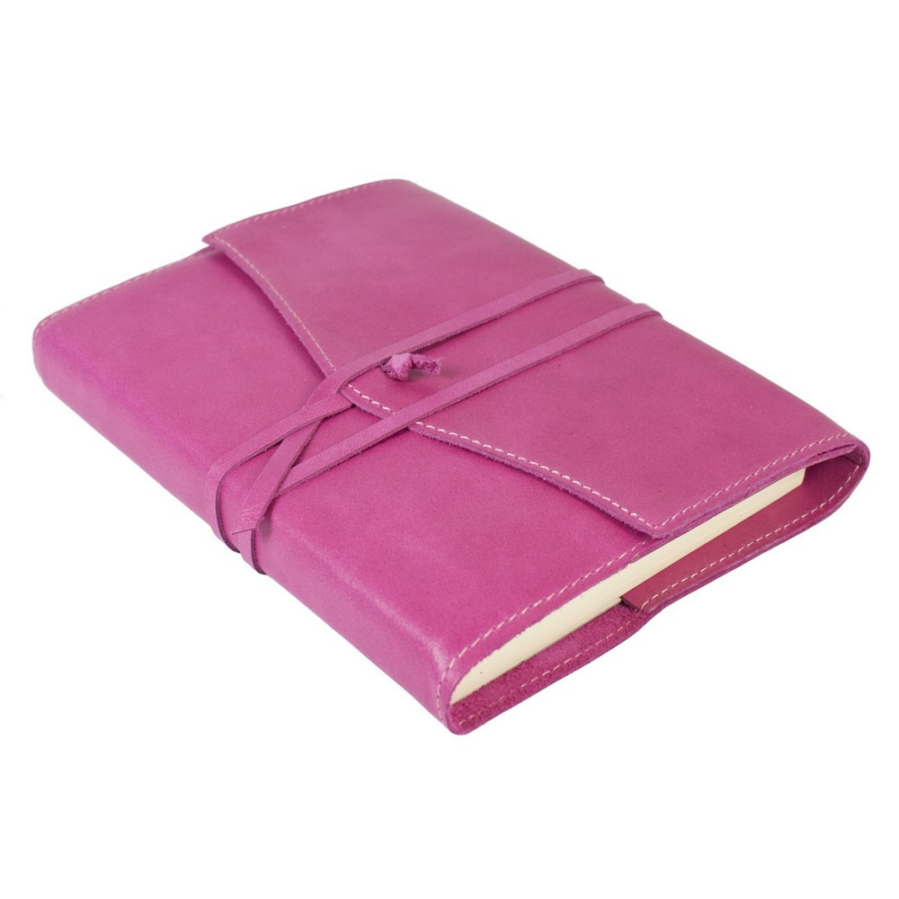 Papuro Milano Medium Refillable Journal - Raspberry with Plain Pages