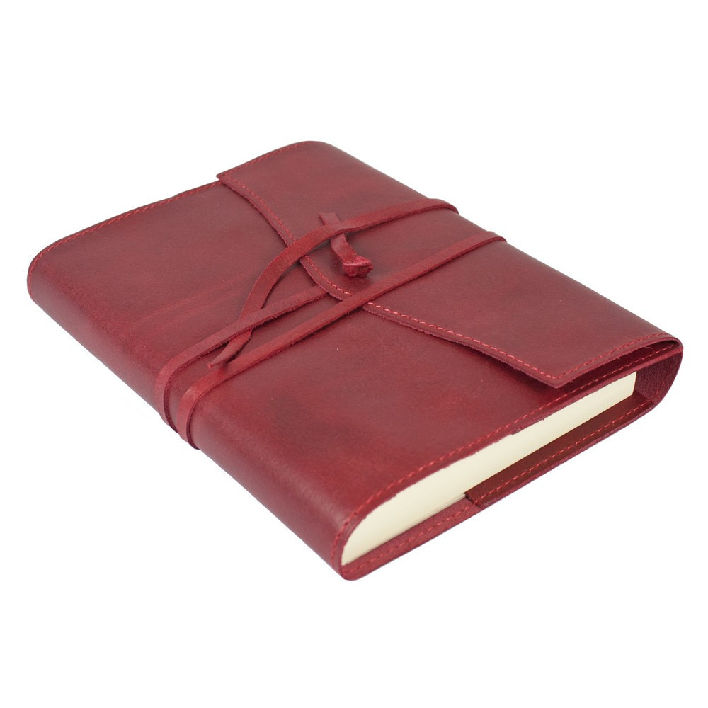 Papuro Milano Medium Refillable Journal - Red with Plain Pages