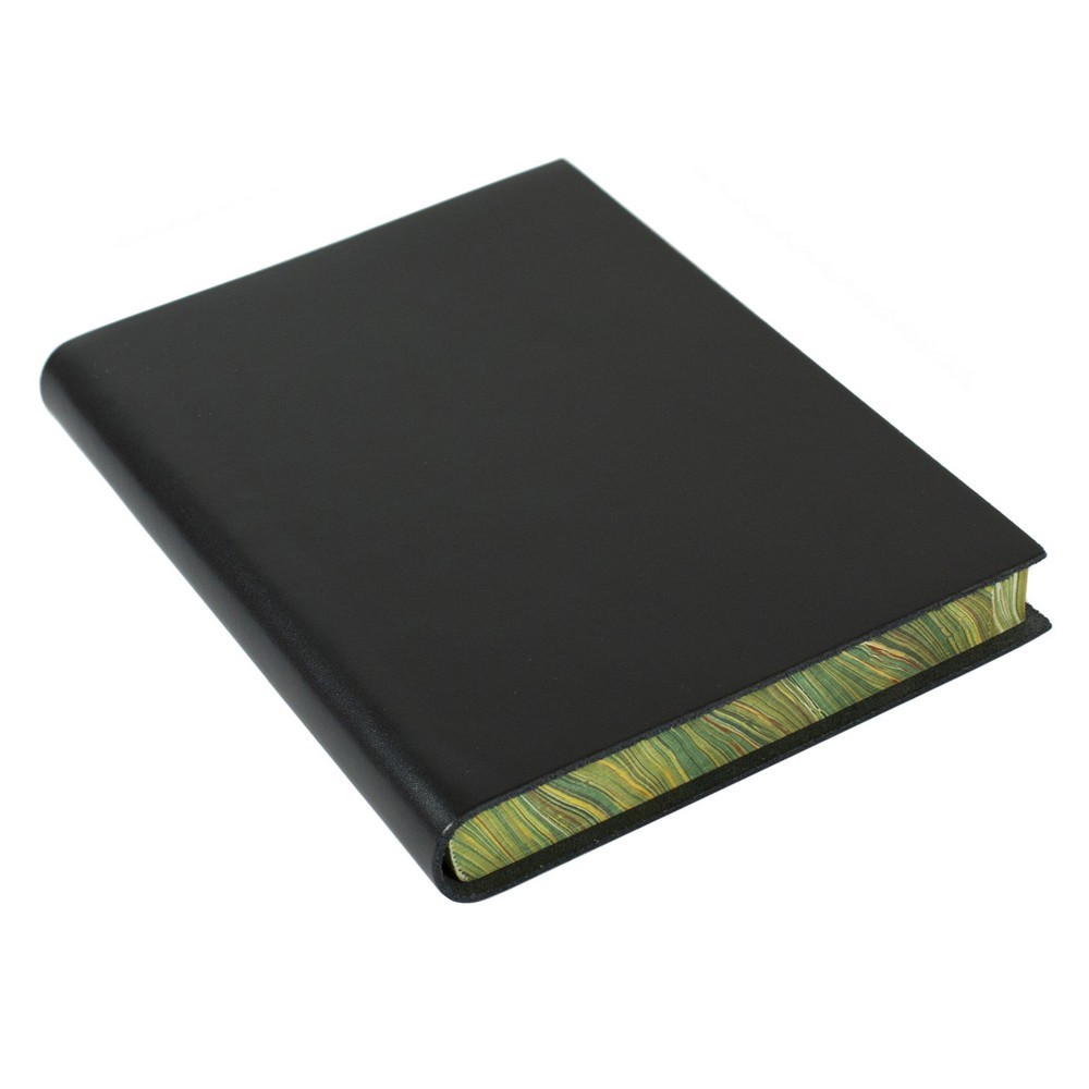 Papuro Torcello Leather Journal - Black with Green Marbled Edges - Medium