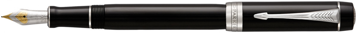 Parker Duofold Classic Fountain Pen - Centennial Black Chrome Trim