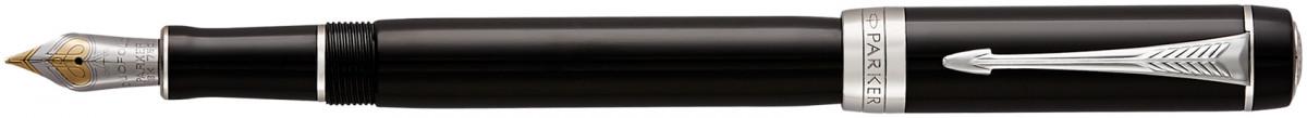 Parker Duofold Classic Fountain Pen - International Black Chrome Trim