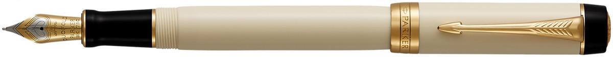 Parker Duofold Classic Fountain Pen - Centennial Ivory & Black Gold Trim