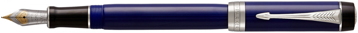 Parker Duofold Classic Fountain Pen – Centennial Blue & Black Chrome Trim