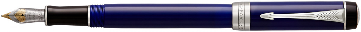 Parker Duofold Classic Fountain Pen - International Blue & Black Chrome Trim
