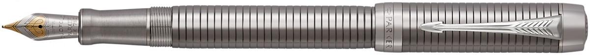 Parker Duofold Prestige Fountain Pen – Centennial Ruthenium Chiselled Chrome Trim