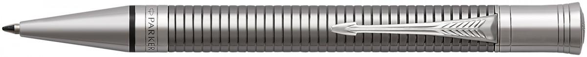 Parker Duofold Prestige Ballpoint Pen - Ruthenium Chiselled Chrome Trim