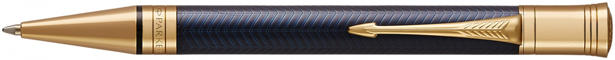 Parker Duofold Prestige Ballpoint Pen - Blue Chevron Gold Trim