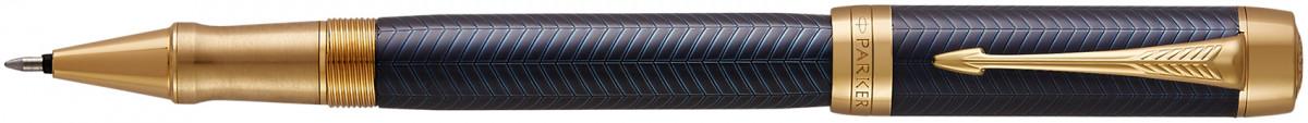 Parker Duofold Prestige Rollerball Pen - Blue Chevron Gold Trim