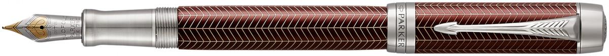 Parker Duofold Prestige Fountain Pen – Centennial Burgundy Chevron Chrome Trim