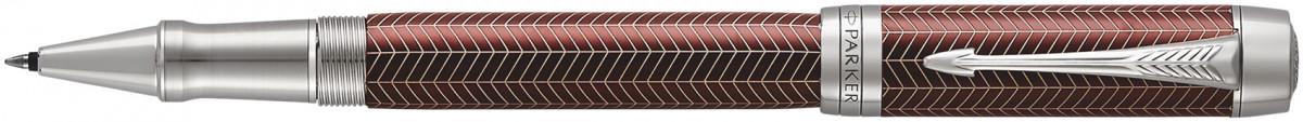 Parker Duofold Prestige Rollerball Pen - Burgundy Chevron Chrome Trim