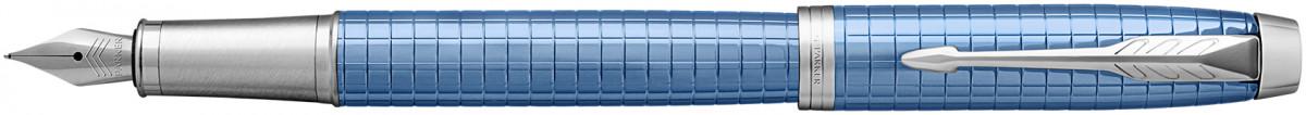 Parker IM Premium Fountain Pen - Blue Chrome Trim