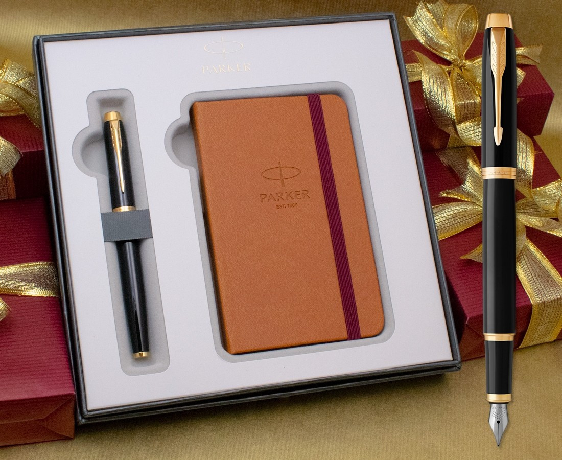 Parker IM Fountain Pen - Gloss Black Gold Trim in Luxury Gift Box with Free Notebook