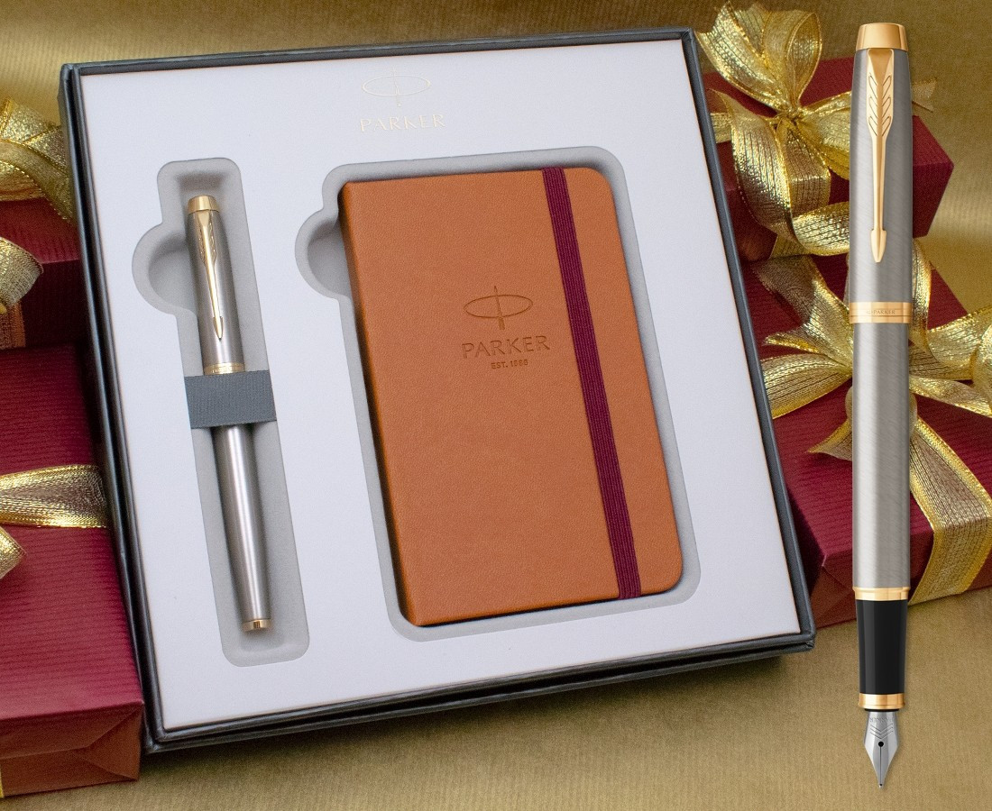 Parker IM Fountain Pen - Brushed Metal Gold Trim in Luxury Gift Box with Free Notebook