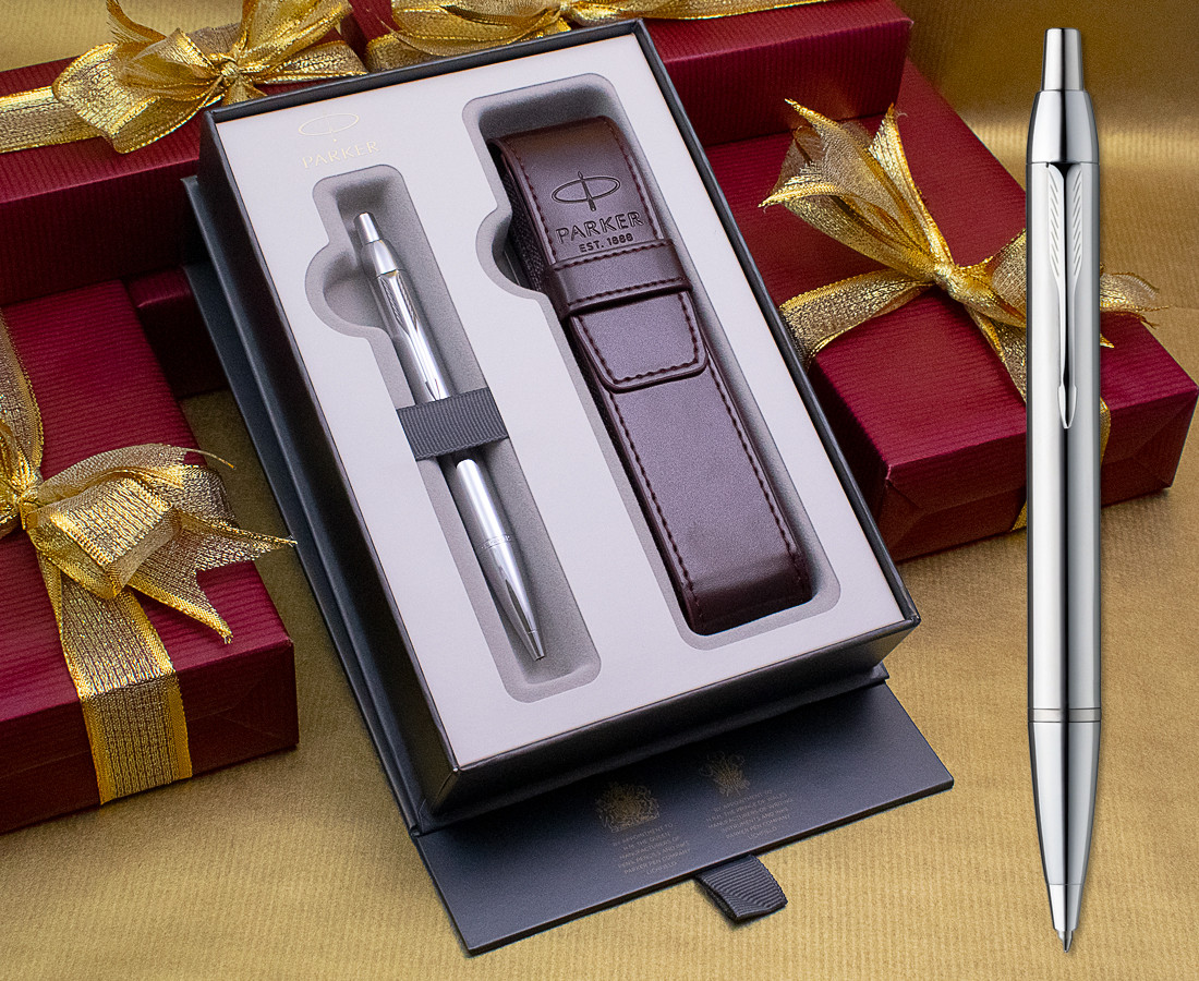 Parker IM Ballpoint Pen - Silver Chrome Trim in Luxury Gift Box with Free Pen Pouch