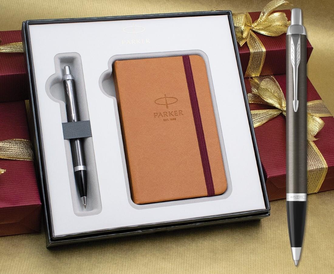Parker IM Ballpoint Pen - Dark Espresso Chrome Trim in Luxury Gift Box with Free Notebook