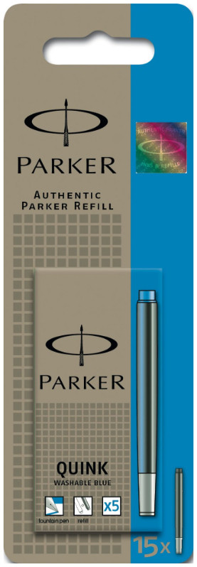 Parker Quink Ink Cartridges - Washable Blue (Pack of 15)