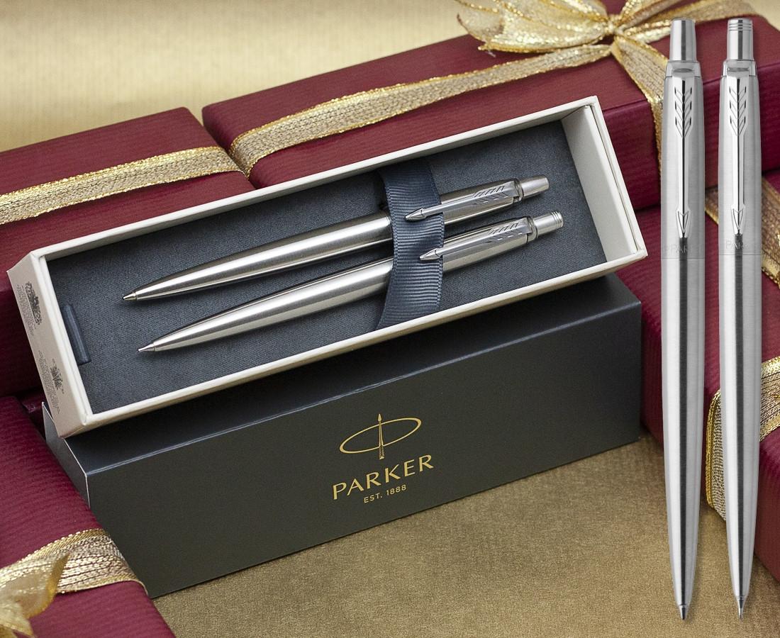 Parker Jotter Ballpoint Pen & Pencil Set - Stainless Steel Chrome Trim