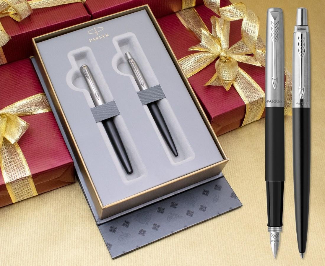 Parker Jotter Fountain & Ballpoint Pen Set - Bond Street Black Chrome Trim in Luxury Gift Box