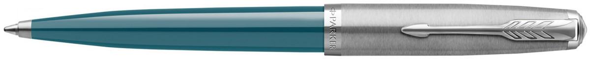 Parker 51 Ballpoint Pen - Teal Blue Resin Chrome Trim