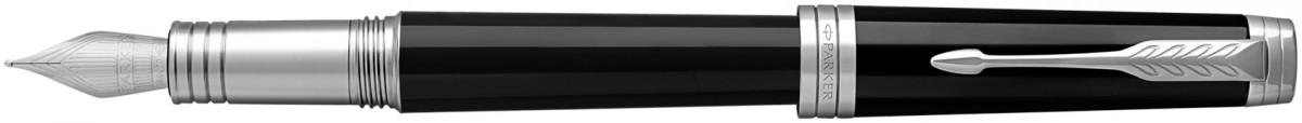 Parker Premier Fountain Pen - Black Lacquer Chrome Trim