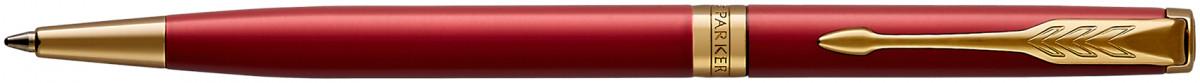 Parker Sonnet Slim Ballpoint Pen - Red Satin Gold Trim