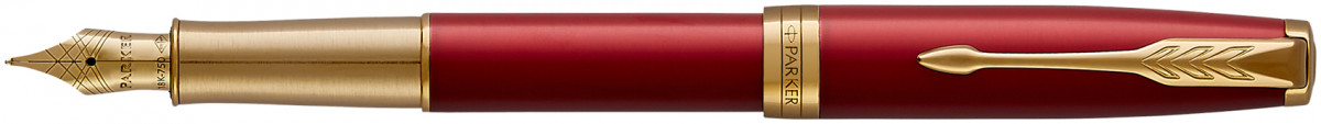 Parker Sonnet Fountain Pen - Red Satin Gold Trim with Solid 18K Gold Nib