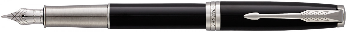 Parker Sonnet Fountain Pen - Black Lacquer Chrome Trim with Solid 18k Gold Nib