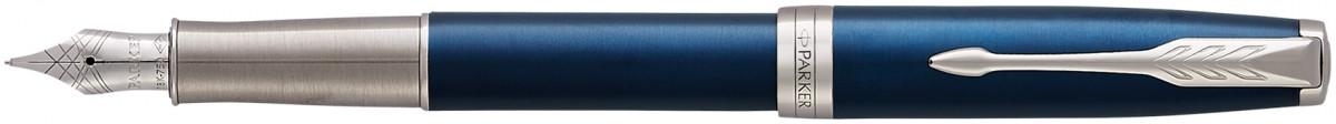 Parker Sonnet Fountain Pen - Blue Lacquer Chrome Trim with Solid 18K Gold Nib