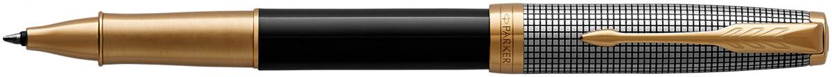 Parker Sonnet Rollerball Pen - Chiselled Silver Black Lacquer Gold Trim
