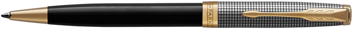 Parker Sonnet Ballpoint Pen - Chiselled Silver Black Lacquer Gold Trim