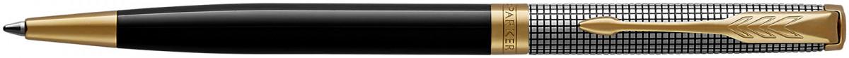Parker Sonnet Slim Ballpoint Pen - Chiselled Silver Black Lacquer Gold Trim