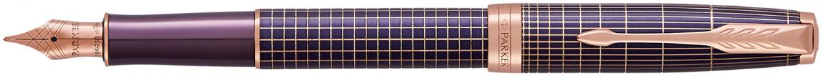 Parker Sonnet Fountain Pen - Chiselled Purple Matrix Pink Gold Trim with Solid 18K Gold Nib