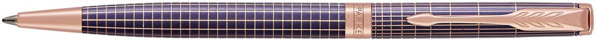 Parker Sonnet Slim Ballpoint Pen - Chiselled Purple Matrix Pink Gold Trim