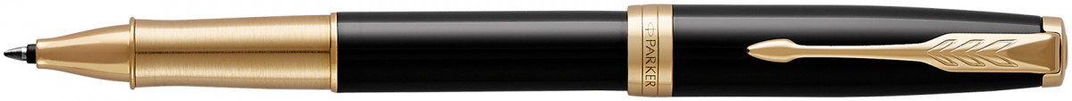 Parker Sonnet Rollerball Pen - Black Lacquer Gold Trim with Polished Grip