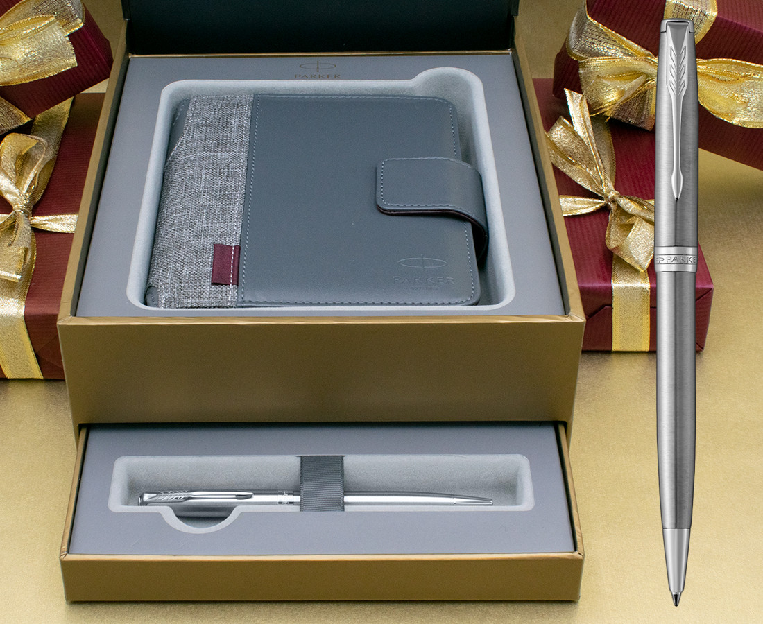 Parker Sonnet Ballpoint Pen - Stainless Steel Chrome Trim in Luxury Gift Box with Free Organiser