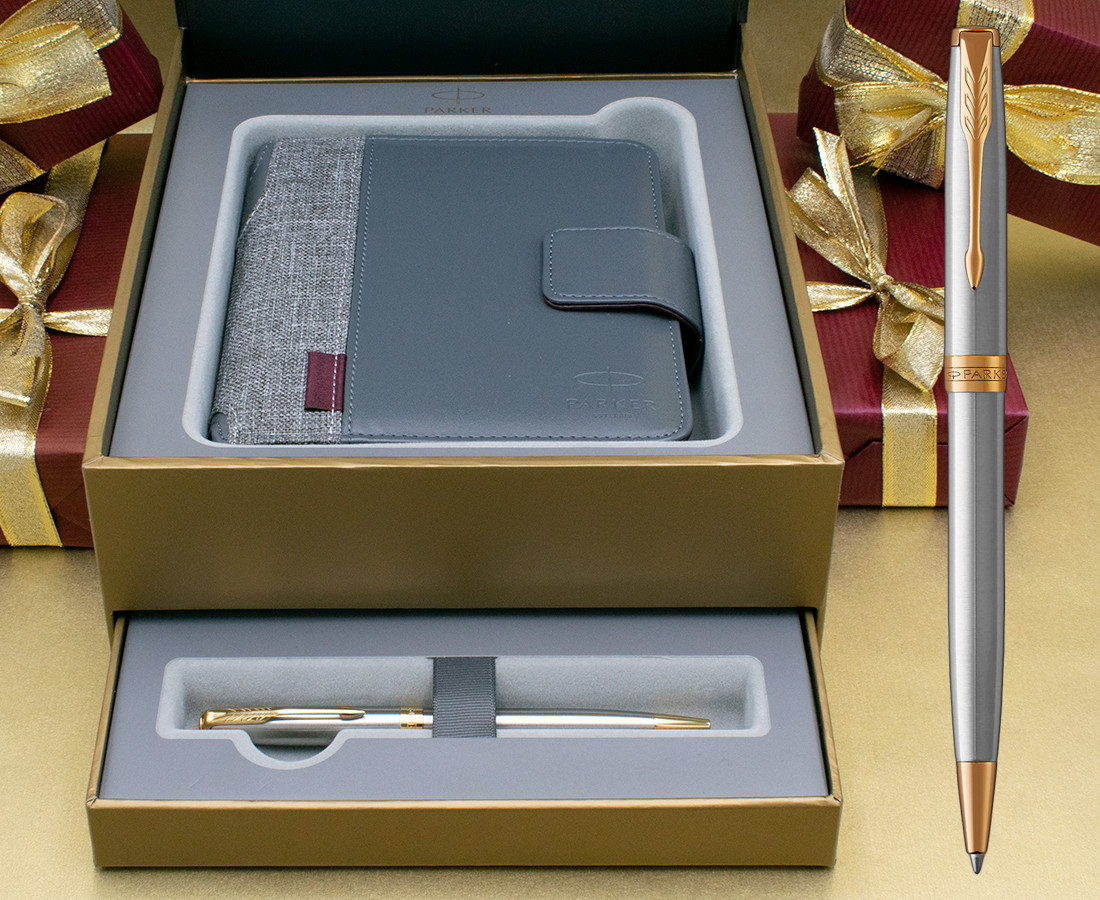 Parker Sonnet Ballpoint Pen - Stainless Steel Gold Trim in Luxury Gift Box with Free Organiser