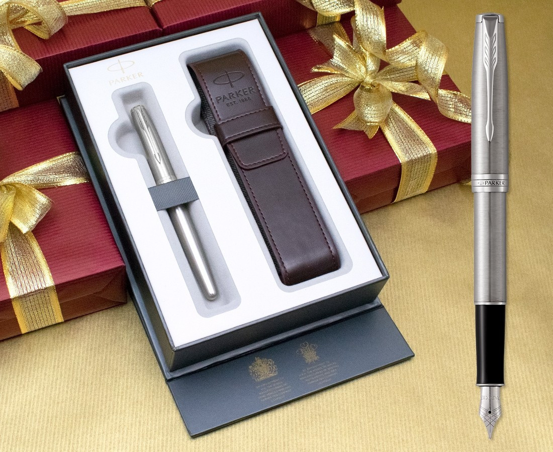 Parker Sonnet Fountain Pen - Stainless Steel Chrome Trim in Luxury Gift Box with Free Pen Pouch