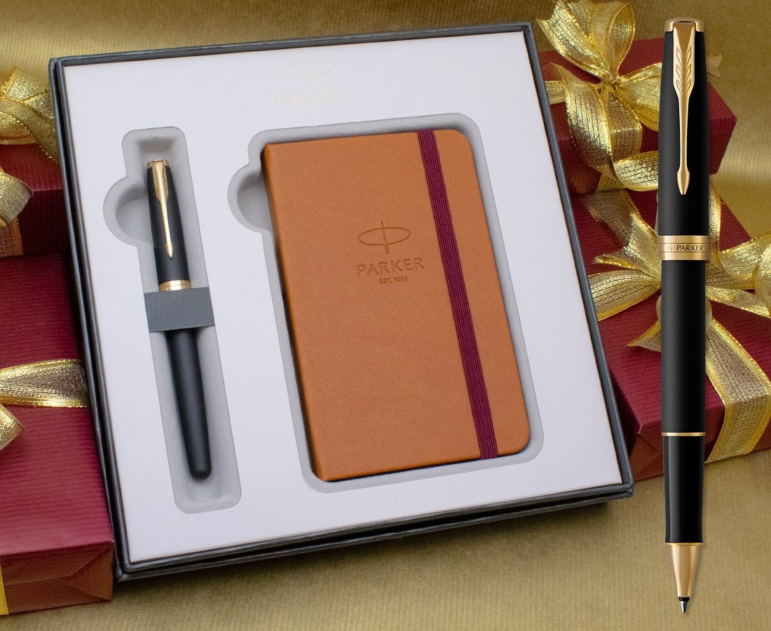Parker Sonnet Rollerball Pen - Matte Black Gold Trim in Luxury Gift Box with Free Notebook