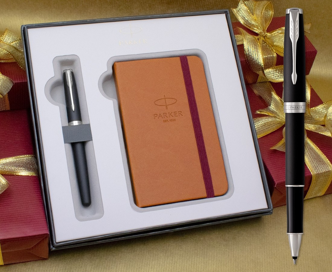 Parker Sonnet Rollerball Pen - Matte Black Chrome Trim in Luxury Gift Box with Free Notebook