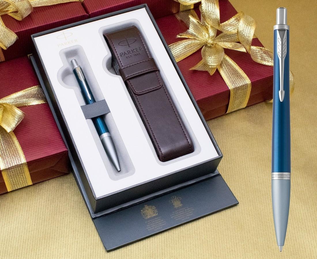 Parker Urban Premium Ballpoint Pen - Dark Blue Chrome Trim in Luxury Gift Box with Free Pen Pouch