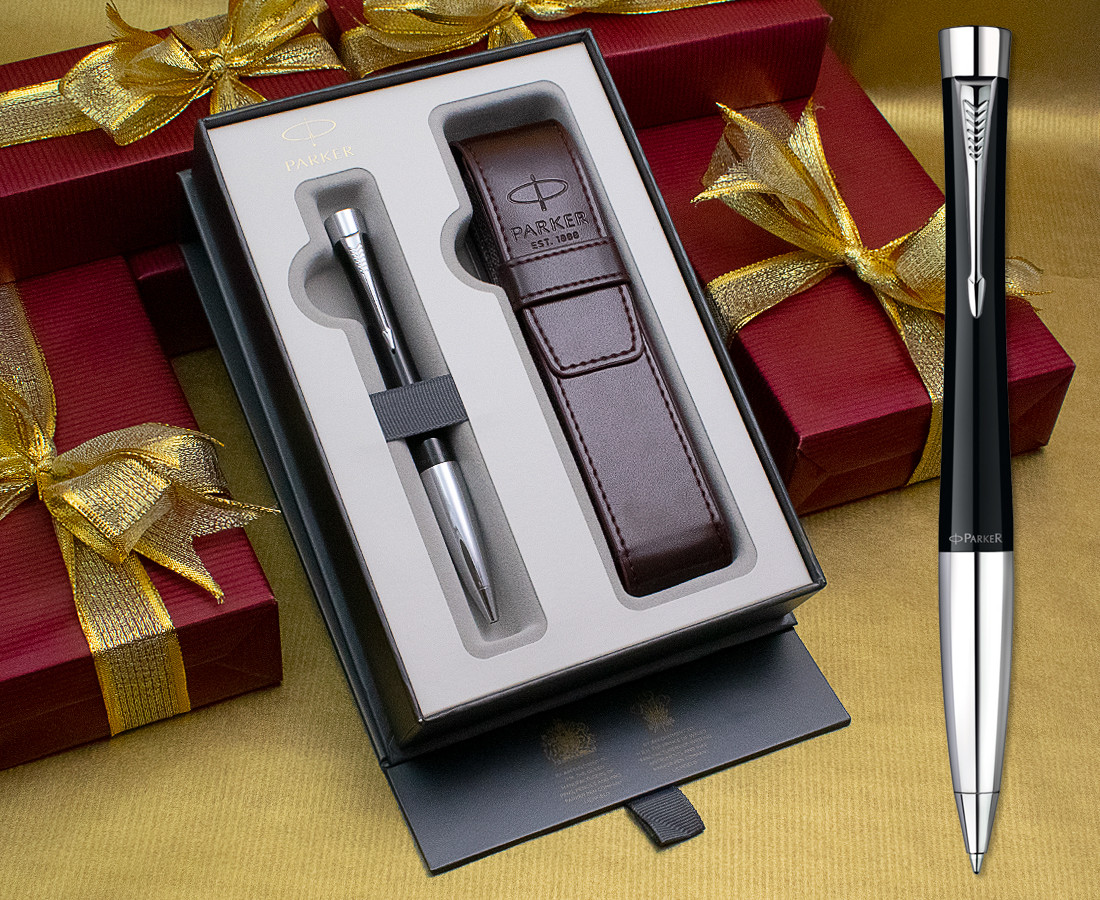 parker ballpoint pen silver black ink with pouch for gifts