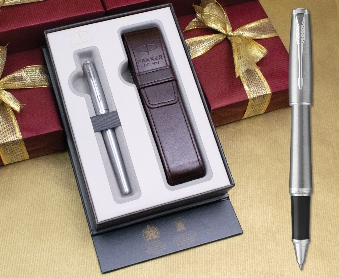 Parker Urban Rollerball Pen - Metro Metallic Chrome Trim in Luxury Gift Box with Free Pen Pouch