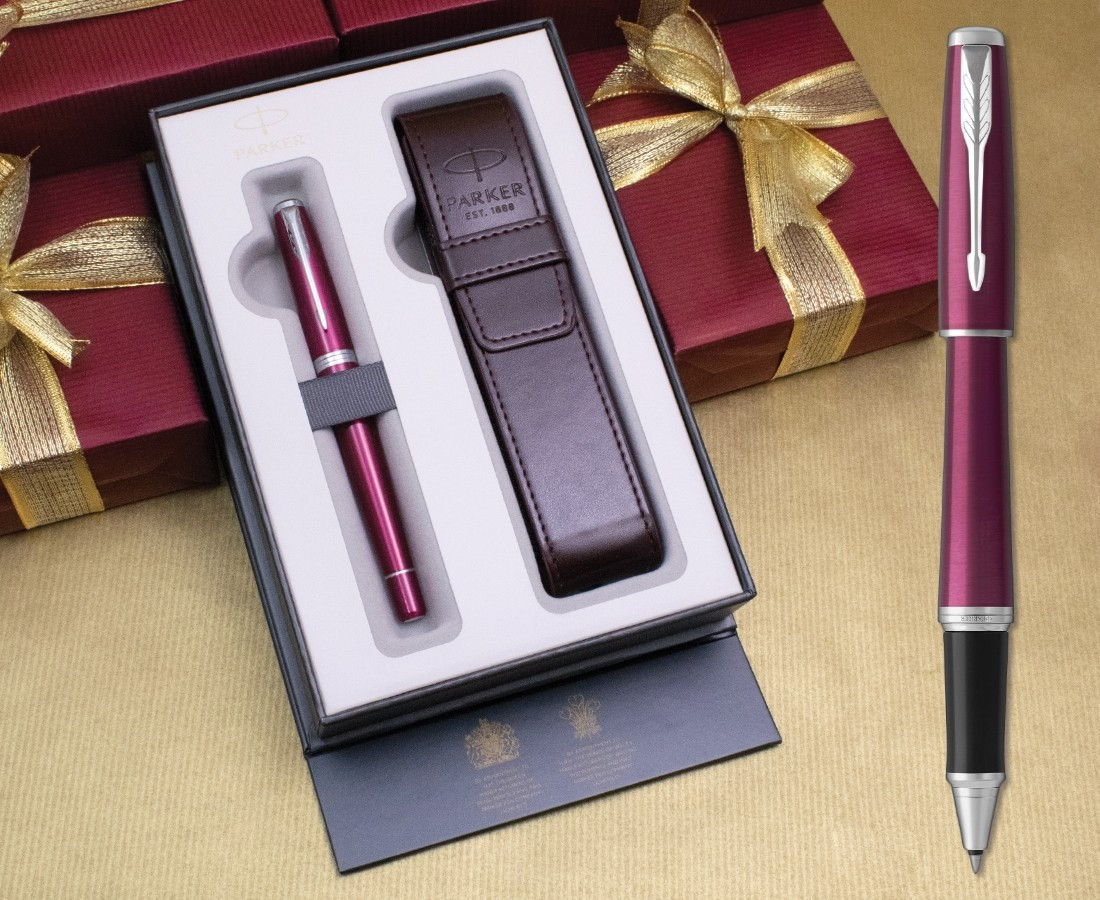 Parker Urban Rollerball Pen - Vibrant Magenta Chrome Trim in Luxury Gift Box with Free Pen Pouch