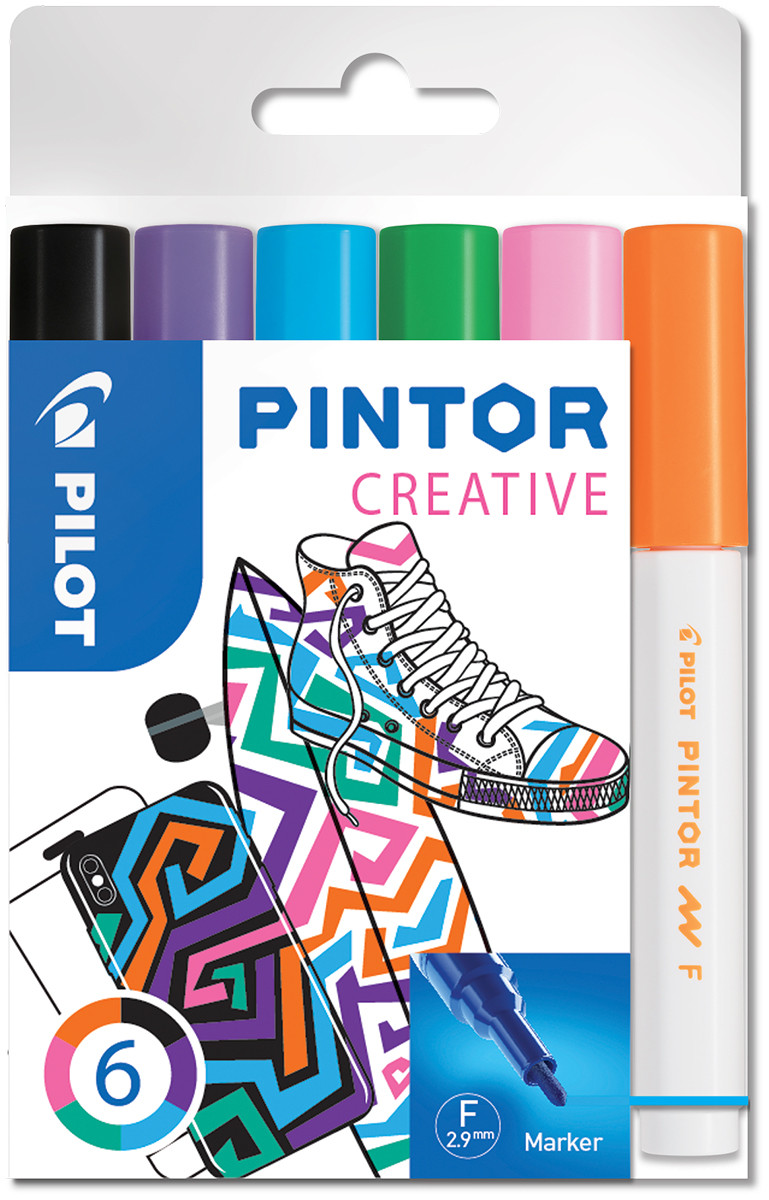 Pilot Pintor Marker Pen - Fine Bullet Tip - Fun Colours (Pack of 6)