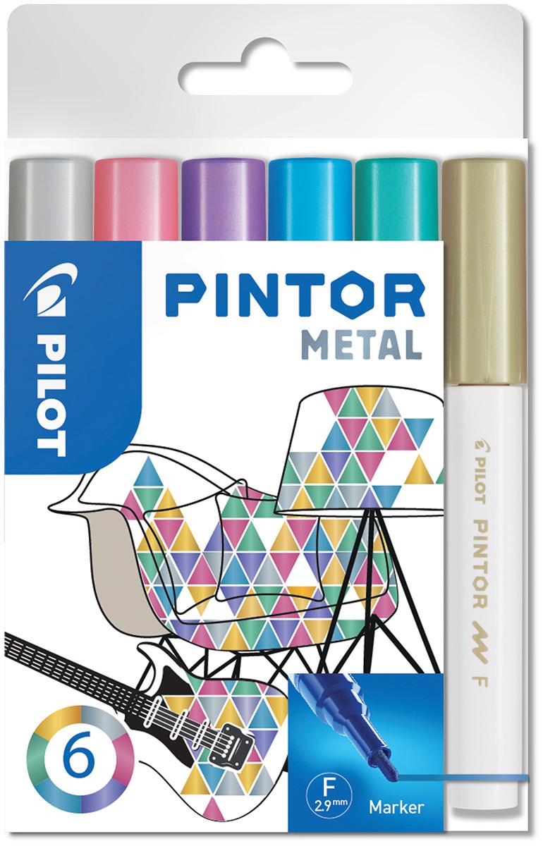 Pilot Pintor Marker Pen - Fine Bullet Tip - Metallic Colours (Pack of 6)