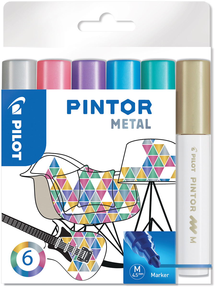 Pilot Pintor Marker Pen - Medium Bullet Tip - Metallic Colours (Pack of 6)
