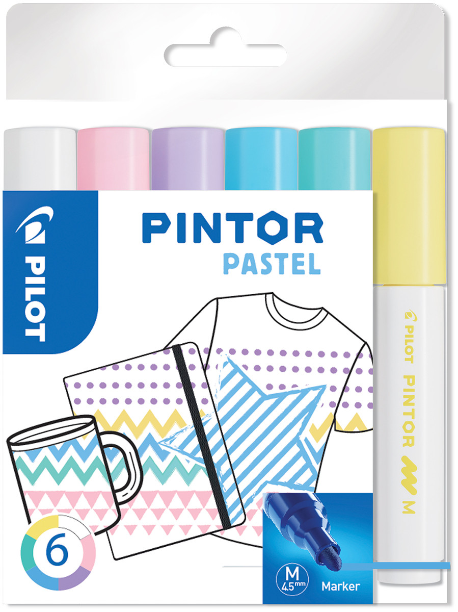 Pilot Pintor Marker Pen - Medium Bullet Tip - Pastel Colours (Pack of 6)