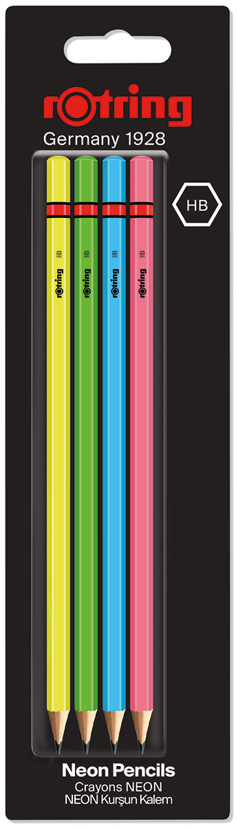 Rotring Woodcase pencil - Assorted Neon Colours - HB (Blister of 4)