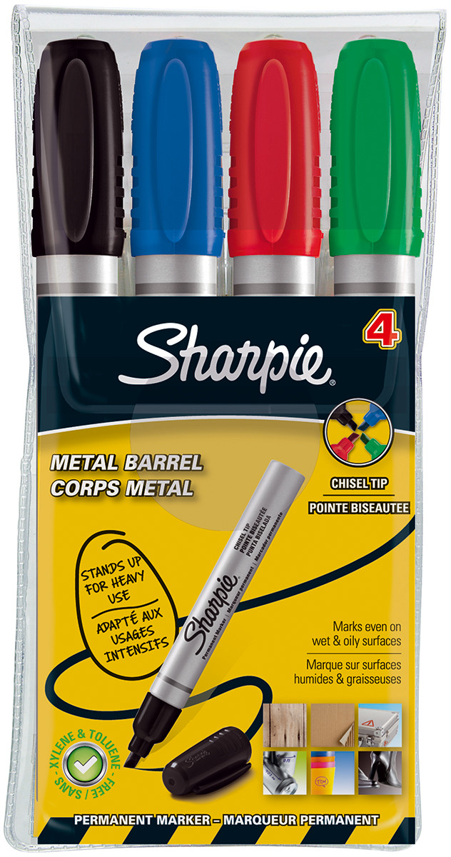 Sharpie Marker Pen - Chisel Tip - Assorted Colours (Pack of 4)