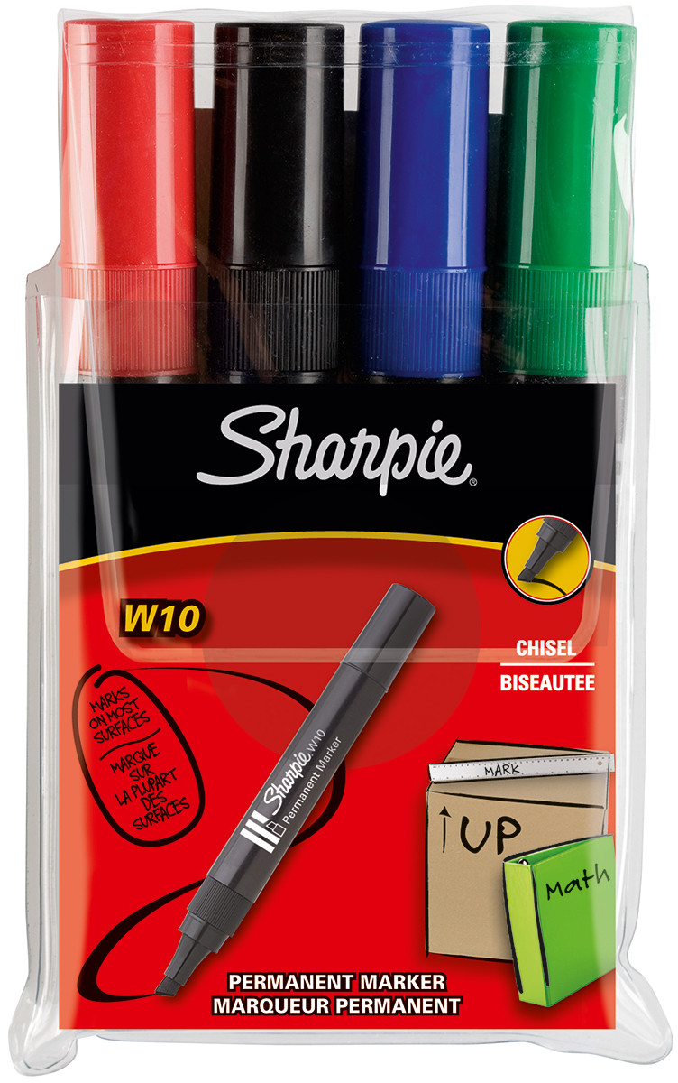 Sharpie W10 Marker Pen Chisel  - Assorted Colours (Pack of 4)